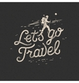 Lets go travel hiker with backpack crossing rocky vector image