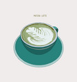matcha latte latte hot drink with latte art vector image