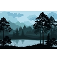 Mountains Trees and River vector image