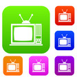 retro tv set collection vector image