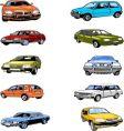 ten passenger cars vector image