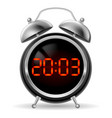 retro round alarm clock with modern digital face vector image vector image