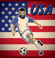usa soccer player with flag background vector image