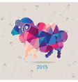 2015 new year card with sheep made of triangles vector image