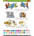 cartoon education math game vector image vector image