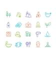 Spa Outline Color Icon Set vector image