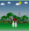 concept of couple in the city park with town vector image