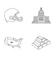 football player s helmet capitol territory map vector image