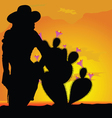 girl silhouette in desert with cactus part one vector image