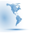 North and South America map on blue background vector image