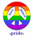 peace sign in colors of lgbt community vector image