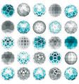 set of low poly spherical objects with connected vector image