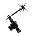 mig welding torch in hand icon simple vector image
