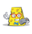 gamer cheese character cartoon style vector image