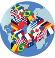 Flags globe vector image