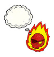 cartoon burning skull with thought bubble vector image