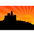 black silhouette of the castle by sunrise vector image