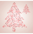 christmas tree from various red snowflakes eps10 vector image
