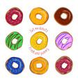 donut flat set isolated on white background vector image