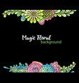 floral background hand drawn succulent bouquets vector image