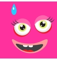Pink monster face cartoon personage vector image