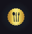 spoon fork food gold logo vector image