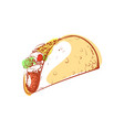 tasty mexican taco isolated icon vector image
