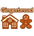 xmas ginger bread cookie man and house colorful vector image