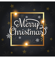 Golden frame and Merry Christmas lettering vector image