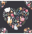 Watercolor pattern with animals flowers vector image vector image