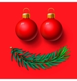 Red Christmas balls and fir twig vector image