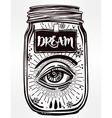 Mystery art of a wish jar with mystic eye vector image