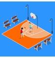 Isometric People Playing Basketball vector image