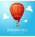 Aeronautics hot air balloon flying in blue sky vector image