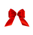 realistic ribbon red bow isolated on white vector image