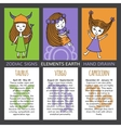 Set of 3 cards zodiac signs vector image