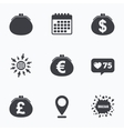 Wallet with Dollar Euro icons Cash bag signs vector image