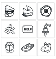 Set of Shipwreck Icons Captain Ship vector image