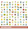 100 park icons set flat style vector image