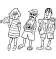 tourist group cartoon vector image