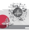 Hand drawn leaf icons with icons background vector image