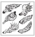 Set of wings in vintage style vector image