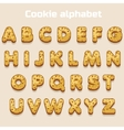 Cartoon cookie font biskvit alphabet vector image