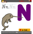 letter n with cartoon narwhal vector image