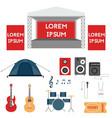 set of festival or rock music concert elements vector image