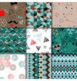 Set of seamless colorful retro patterns Hipster vector image