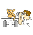 Human and cat vector image vector image