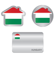 Home icon on the Hungarian flag vector image vector image