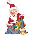Cute Santa Claus and a Sack Full of Gifts vector image