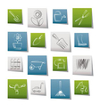 garden and gardening tools and objects icons vector image vector image